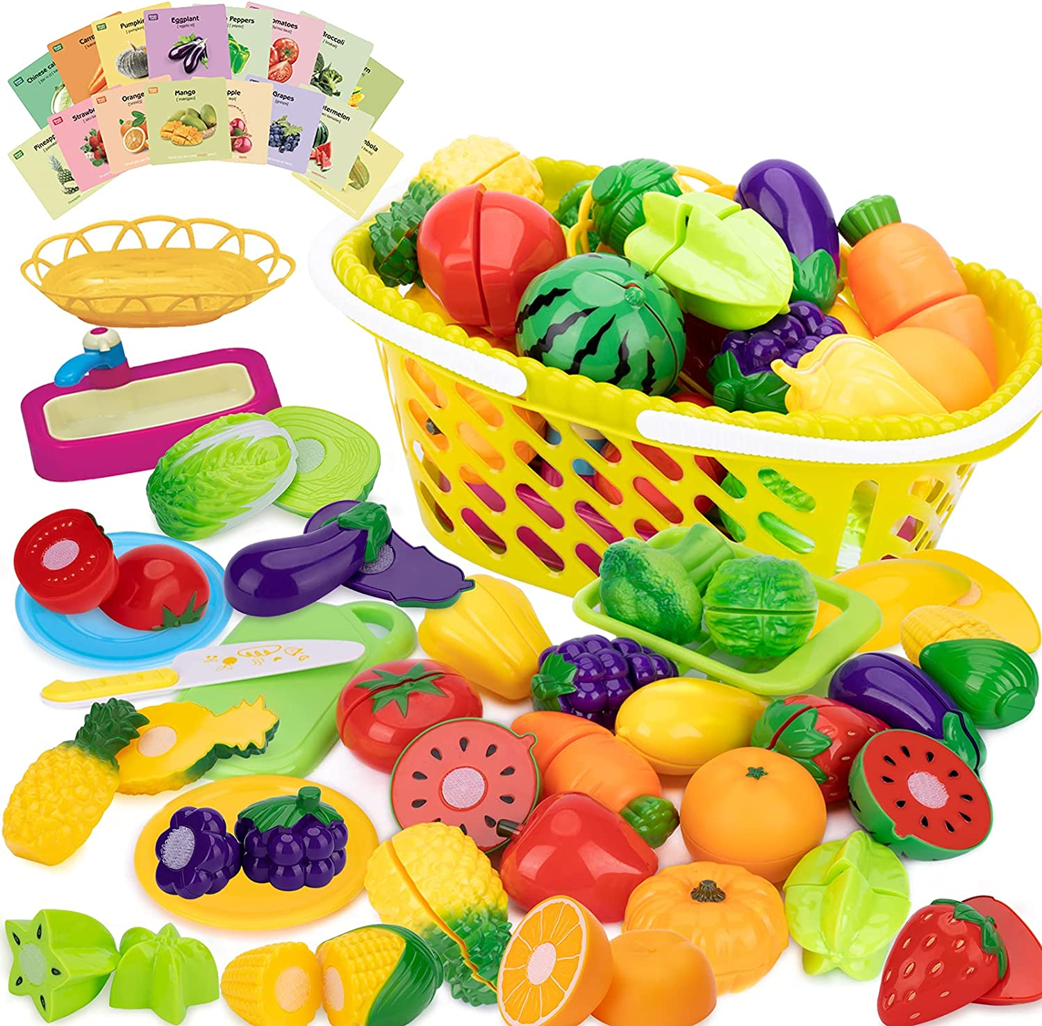 Dayeto 56 PCS Toy Cutting Play Food Set, Kids Pretend Fruit Vegetables Reading Card Dishes Knife and Shopping Basket, Learning Educational Play Kitchen Accessories Set Gifts for Boys & Girls