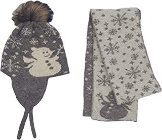 Gorro de invierno para bebé, 2 piezas, 100% lana mongol con bonito patrón