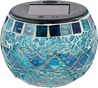 FRCOLOR Mosaic Solar Lights Outdoor Glass Globe LED Light Waterproof Table Lamps for Garden Pati Party Yard Decorations Blue