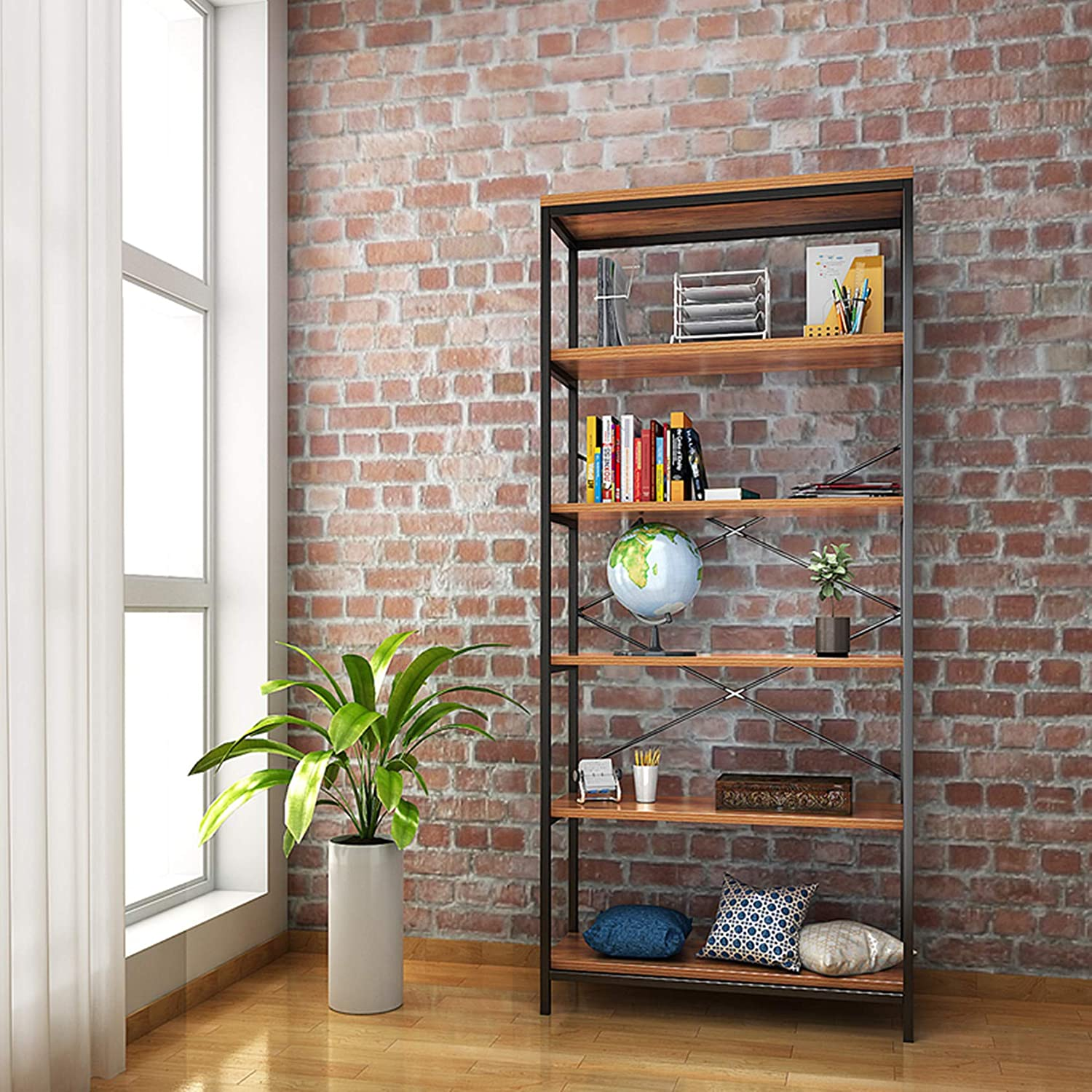 Kemanner 5-Tier Industrial Style Free Los Angeles Mall Easy-to-use Standing Vintage Bookcase