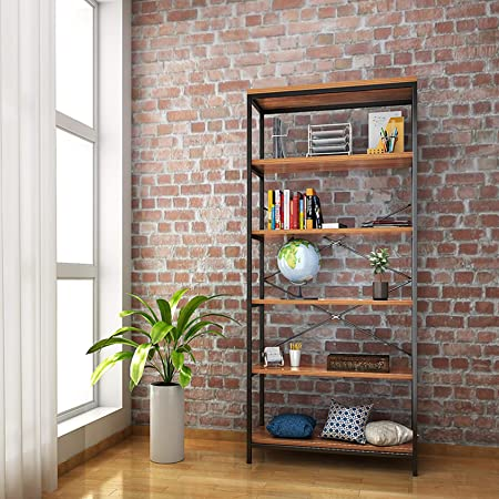 Kemanner 5-Tier Industrial Style Bookcase, Vintage Free Standing Bookshelf, Rustic Wood Bookcases Furniture (Brown.)