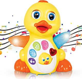 CifToys Musical Duck Toy Walking Flapping Dancing Duck Toys for 3 2 1 Year Old Gifts, Toddler Toys- Dancing, Singing, Electronic Duck Toy with Lights and Adjustable Sound