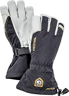 Hestra Army Leather Gore-TEX - Waterproof, Long-Cuffed 5-Finger Snow Glove for Skiing and Mountaineering - Black - 9