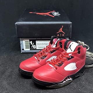 Pair Air Jordan V 5 Retro Raging Bull Toro Red OG Sneakers Shoes 3D Keychain 1:6 Figure + Shoe Box