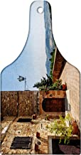 Lunarable Italian Cutting Board, Walls of Pienza in Tuscany Historical European Landmark Art, Decorative Tempered Glass Cutting and Serving Board, Wine Bottle Shape, Brown Blue