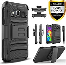 Galaxy On5 Case, Combo Shell Cover Kickstand with Built-in Holster Locking Belt Clip+Circle(TM)Touch Screen Pen And Screen Protector-Black