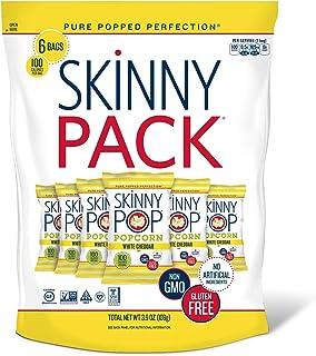 SkinnyPop White Cheddar Popped Popcorn, 100 Calorie Bags, Vegan, Gluten-free, Non-GMO, 0.65 oz Individual Snack Sized Bags...