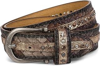 cinturón de remaches en una moderna óptica trenzada, recubierto con tachuelas y remaches de estrellas y estrás, cinturón, acortable, señora 03010075