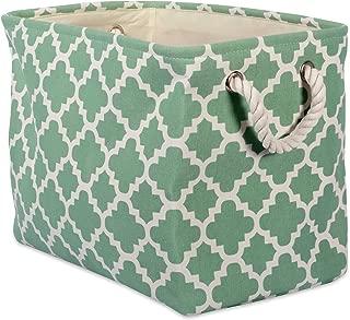 DII Printed Polyester Storage Bin -Large Rectangle, Bright Green Lattice