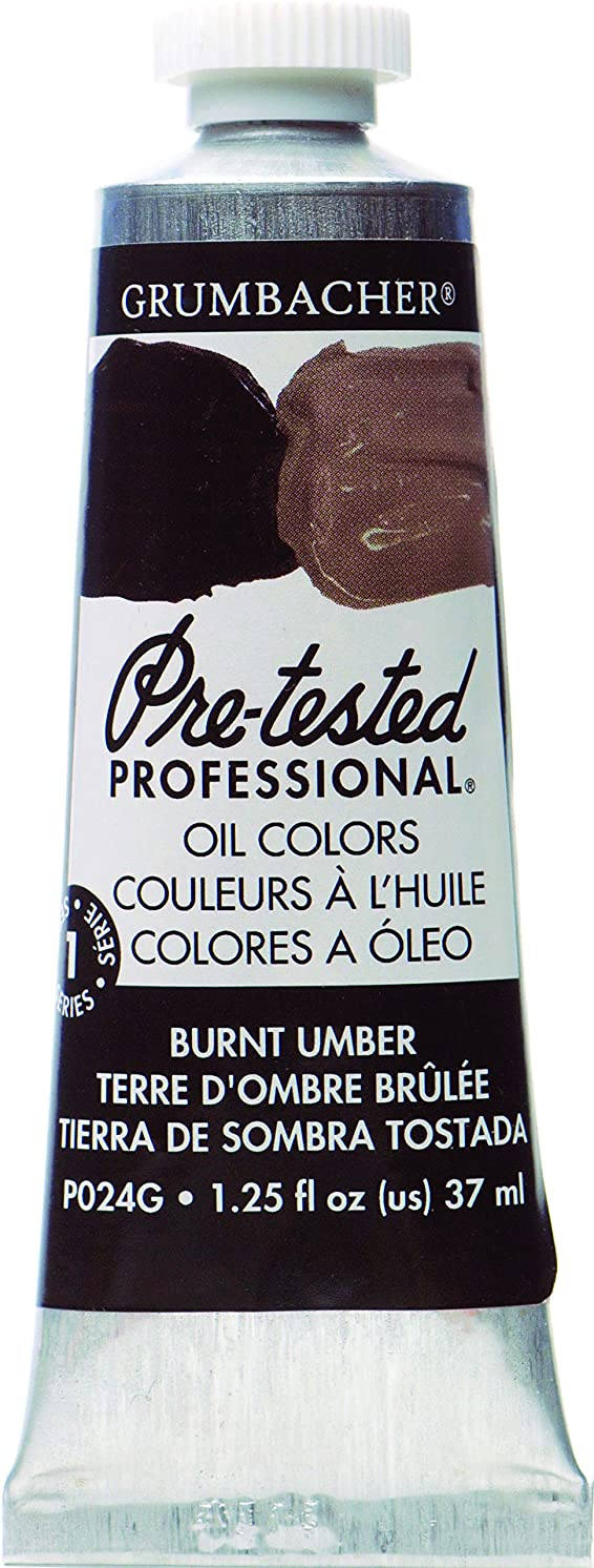 Grumbacher Pre-Tested Oil Paint, 37ml/1.25 Ounce, Burnt Umber (P024G)