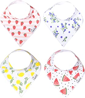 """Baby Bandana Drool Bibs for Drooling and Teething 4 Pack Gift Set for Girls """"Georgia Set"""" by Copper Pearl"""