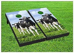 BackYardGamesUSA Cow Cornhole BEANBAG TOSS Game w Bags Game Boards Farming Farm Cow Animal 759