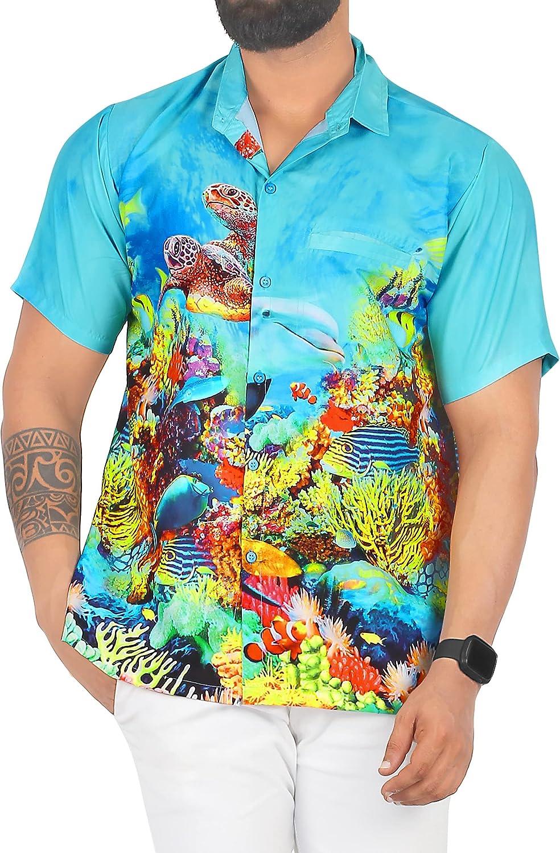 LA LEELA Men's Designer Fashion low-pricing Sleeve Hawaiian Oakland Mall Short Shirt