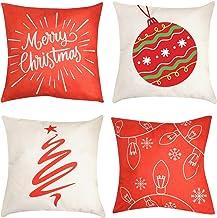 "Christmas Pillow Cover Decorations - 4 PCS 18""x18"" Christmas Decorative Couch Pillow Cases Cotton Linen Pillow Square Cush..."