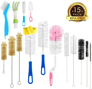 15Pcs Food Grade Multipurpose Cleaning Brush Set,Lab Cleaning Brushes,Include Straw Brush|Bottle Brush|Blind Duster|Pipe Cleaner,Small,Long,Soft,Stiff Kit for Baby Bottles,Nipple,Tubes,Jar,Bird Feeder