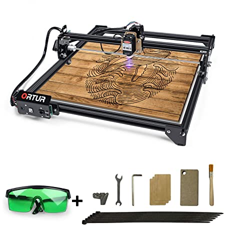 ORTUR Laser Master 2, Laser Engraver CNC, Laser Engraving Cutting Machine, DIY Laser Marking for Metal with 32-bit Motherboard LaserGRBL(LightBurn), 400x430mm Large Engraving Area (LU1-2)