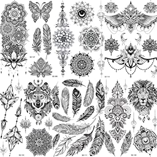 COKTAK 6 Pieces/Lot Unique Black Henna Temporary Tattoo Stickers For Adults Women Girls Feather Mandala Flower Body Art Large Big Arm Tattoos Sheet Lace Indian Mehndi Sexy Wedding Tatoos Paper OWL