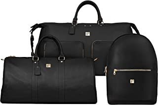 Packs Project - Executive Travel Bag Set   3 Piece Set Includes Weekender Tote, Duffel Bag, Backpack   Airline Carry-On Luggage Approved Vegan Leather with Gold Metal Zippers, Black