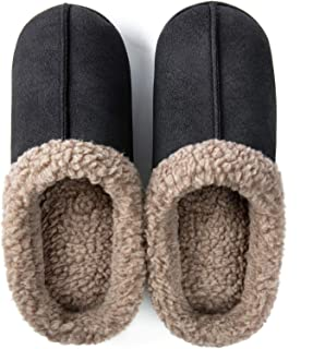 ZIZOR Men's Memory Foam Wool-Like Lining Slipper with Short Faux Fur Collar House Shoes Indoor Outdoor Slip on Clogs