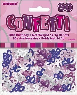 UNIQUE PARTY 55465 - Glitz Pink Foil 90th Birthday Confetti