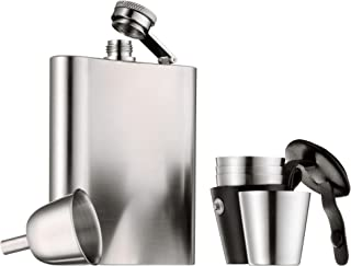 WMF福腾宝Manhattan 酒壶6件套,带漏斗, 便携式酒杯置于皮套中,Cromargan亚光不锈钢材质, 高13cm,容量20cl