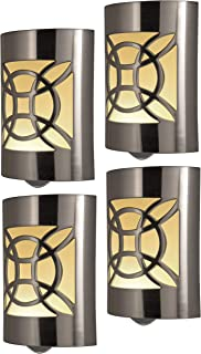 GE CoverLite LED Night Light Design, 4-Pack, Plug-in, Dusk to Dawn Sensor, Home Décor, for Elderly, Ideal for Bedroom, Bathroom, Nursery, Kitchen, Hallway, 46459, 4 Pack, Brushed Nickel | Celtic, 4
