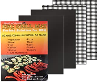 Luxiv BBQ Grill Mesh Mat Kit, 4 PCS Non-Stick Grilling Mat 2Pcs Grill Mesh Mat for Charcoal Barbecue, 2 Pcs Reusable Grill Solid Mats for Vegetable, Heavy Duty BBQ Mat (4 Pack)