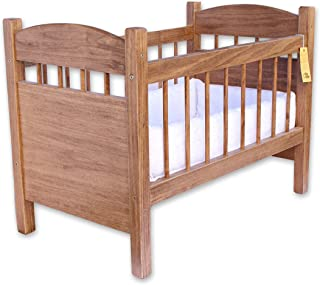 Amish-Made Wooden Deluxe Doll Crib, Natural Harvest Finish by AmishToyBox.com
