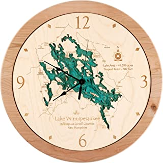 Higgins Lake - Roscommon County - MI - 3D Clock 17.5 in - Laser Carved Wood Nautical Chart and Topographic Depth map.