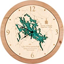 Long Lake Lifestyle Hyco Reservoir - Person County - NC - 3D Clock 17.5 in - Laser Carved Wood Nautical Chart and Topographic Depth map.