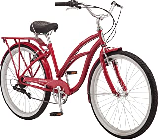 Schwinn Sanctuary 7 Cruiser Bike, Featuring Retro-Styled 16-Inch/Small Step-Through and 18-Inch/Medium Step-Over Steel Frames, 7-Speed Drivetrain, Front and Rear Fenders, Rear Rack, and 26-Inch Wheels