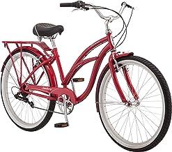 دوچرخه مسافرتی Schwinn Sanctuary 7 Cruiser ، دارای قاب های فولادی 16 اینچ / پیمایش کوچک و 18 اینچ / متوسط پله های فولادی ، پیشرانه 7 سرعته ، گلگیرهای جلو و عقب ، رک عقب و چرخ های 26 اینچ