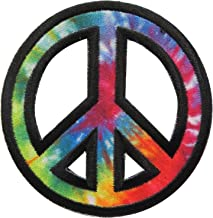 Simplicity 1938990001 Rainbow Peace Sign Applique Clothing Iron On Patch, 2.75'' D