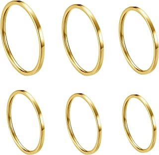 Women's 6 Pieces Stainless Steel 1MM Thin Midi Stacking Rings Plain Band Comfort Fit Size 4 to 9