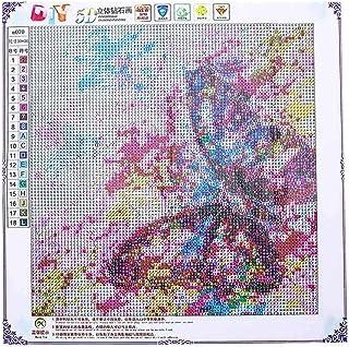 zjkruoxin Diamante Pintura 5D DIY Punto de Cruz Flor Mosaico Animal Paisaje Imagen Bordado Redondo 40X50Cm Arte y manualidades