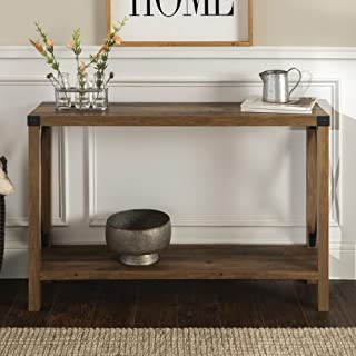 Walker Edison Barnwood Farmhouse Wood Rectangle Accent Entryway Table (46 Inch) –..