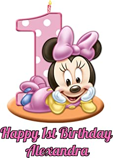 Minnie Mouse Girl's 1st Birthday Edible Image Photo Cake Topper Sheet Personalized Custom Customized Birthday Party - 1/4 Sheet - 78608