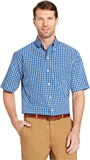 Arrow Men's Hamilton Plaid Short Sleeve Shirt Button, Blue Azalia, XXL