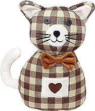 Lashuma Deurhouder kat bruin geruit, deurstopper Kaya, zware deurzak hoogte: 26 cm
