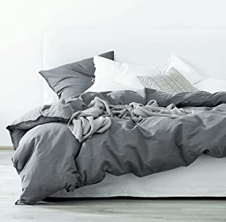 Eikei Washed Cotton Chambray Duvet Cover Solid Color Casual Modern Style Bedding Set Relaxed Soft Feel Natural Wrinkled Look (Twin, Charcoal)