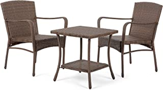 W Unlimited Leisure Collection Garden Patio Furniture Round Core Wicker Outdoor Furniture Bistro Set Table Cushions Deep Seating (3 Piece Set)