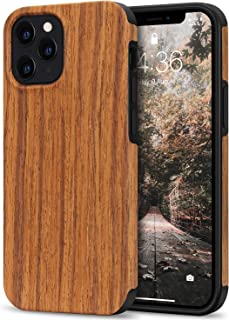 Tasikar Compatible with iPhone 12 Pro Max Case Easy Grip with Wood Grain Design Slim Hybrid Case (Redwood)