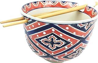 Ebros Japanese Design Ceramic Ramen Udong Noodles Bowl and Chopsticks Set for Asian..