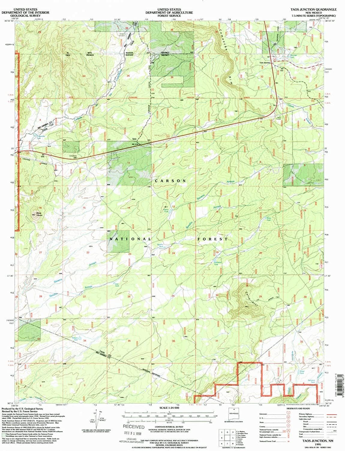 Taos Junction NM topo map, 1 24000 Scale, 7.5 X 7.5 Minute, Historical, 1995, Updated 1998, 26.9 x 22 in