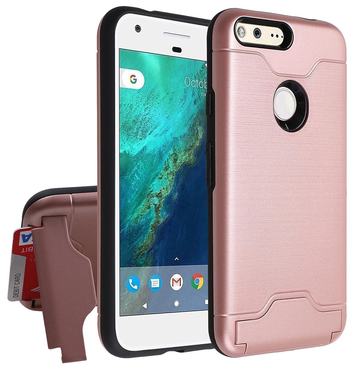 Google Pixel XL Wallet Case,[Hidden Card Slot Kickstand] Dual Layer Shock Absorption Protective Case [Credit Card Slot] Heavy Duty Bumper Case for Google Pixel XL (Rose Gold)