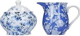 Mikasa Hampton Milk Jug and Sugar Bowl Set in Gift Box, Porcelain, White/Blue, 2 Pieces