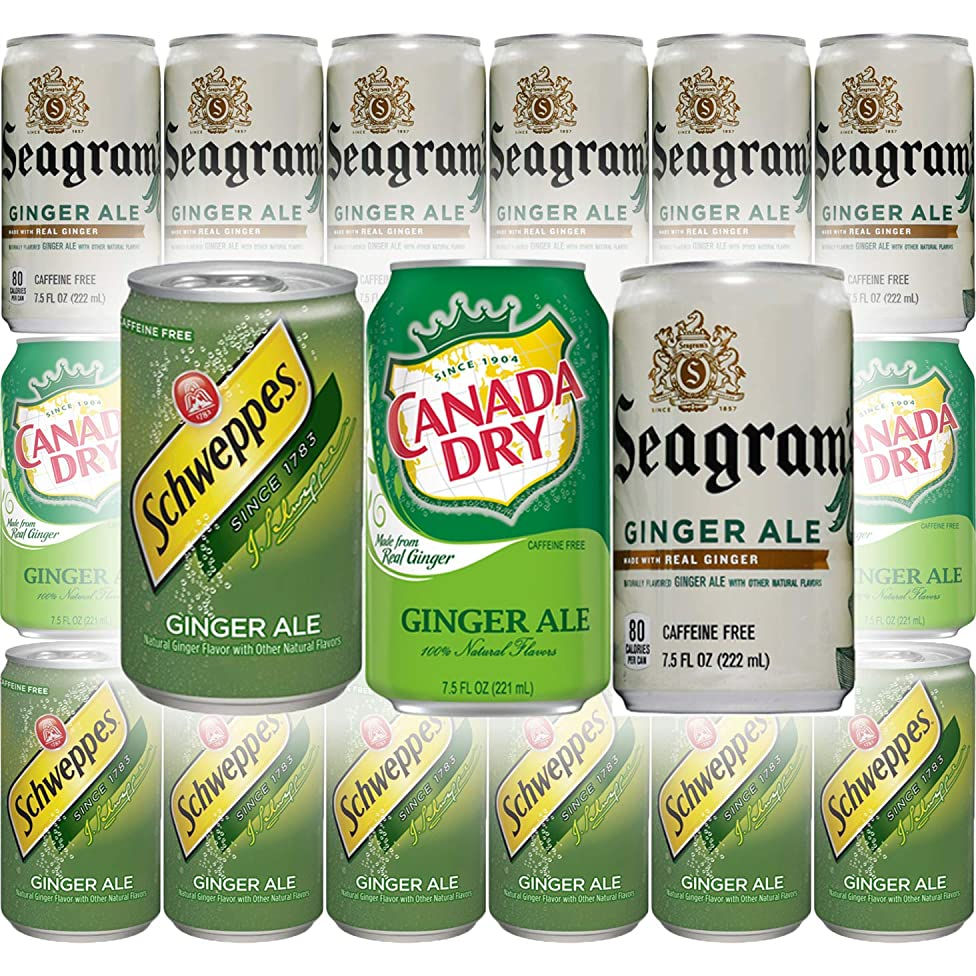 Canada Dry Ginger Ale, Seagram's Ginger Ale, Schwepps Ginger Ale Soda - Variety Pack, 7.5oz Mini Cans (Pack of 18, Total of 135 Oz)