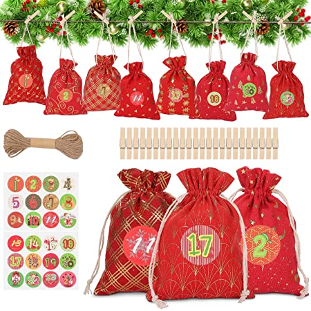 Adventskalender Zum Befüllen Weihnachtskalender Weihnachten Säckchen XMAS Decor