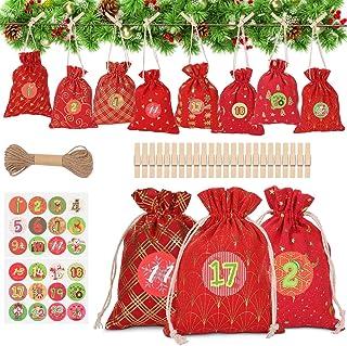 WOKKOL Sac Cadeau de Noël, Pochette Noel, Calendrier de Noel, Calendriers de l'Avent, DIY Noël Cadeaux Sacs à, Sacs à Cord...