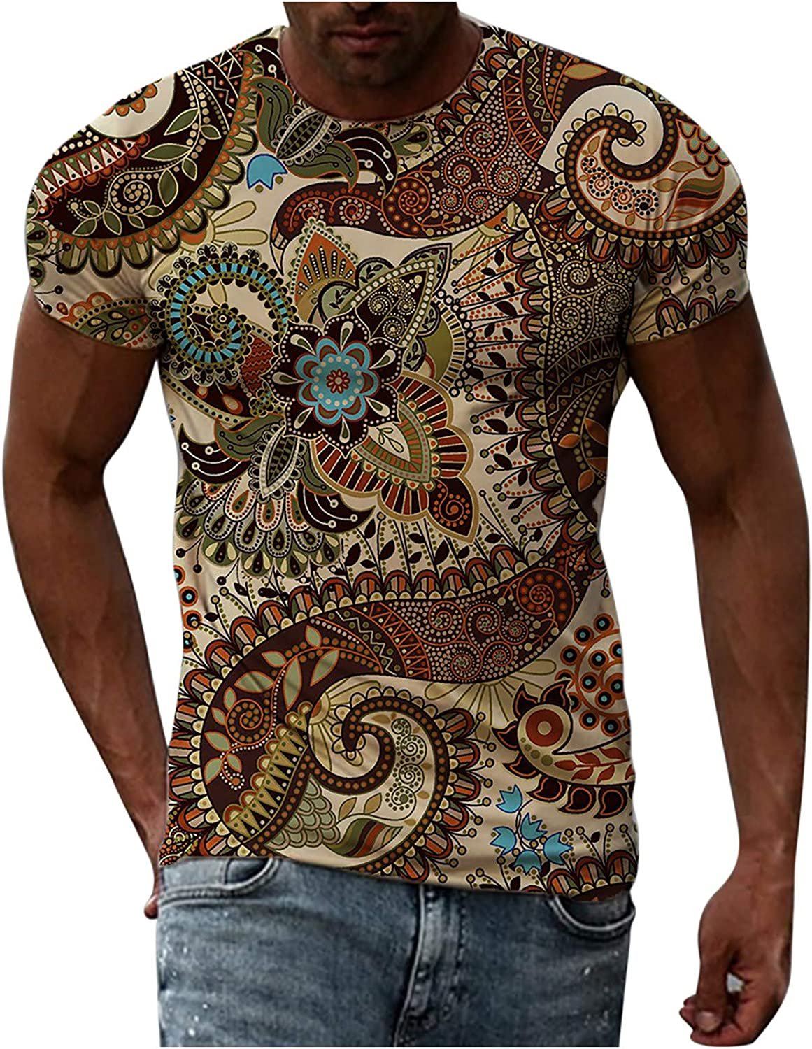 FUNEY Summer T Shirts for Men Casual Short Sleeve Crewneck Tops 3D Printed Vintage Graphic Tees Novelty Design T-Shirts